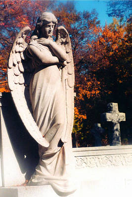 Grave Photograph - Guardian Angel Statue With Cemetery Cross by Kathy Fornal