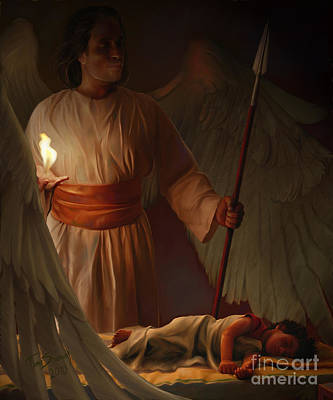 Night Angel Painting - Guardian Angel by Tamer and Cindy Elsharouni