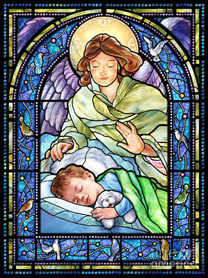 Digital Art - Guardian Angel With Sleeping Boy by Randy Wollenmann