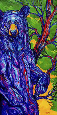 Vivid Colour Painting - Guardian Bear by Derrick Higgins