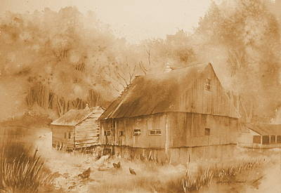 Barn Painting - Guardian Spirits Sepia by Amanda Amend