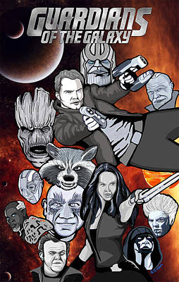 Guardians Of The Galaxy Collage Art Print by Gary Niles