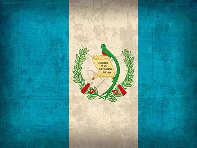 Guatemala Flag Vintage Distressed Finish Art Print