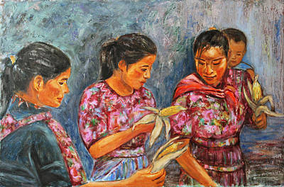 Figurative Painting - Guatemala Impression IIi by Xueling Zou