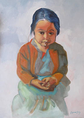 Painting - Guatemalan Girl With Folded Hands by Suzanne Cerny