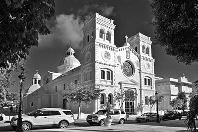 Guayama Church And Plaza B W 1 Art Print