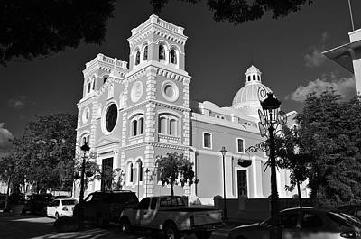 Photograph - Guayama Church And Plaza B W 2 by Ricardo J Ruiz de Porras