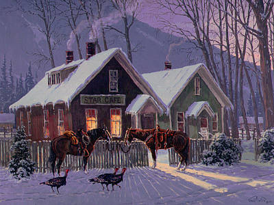 Winter Scene Painting - Guest For Dinner by Randy Follis