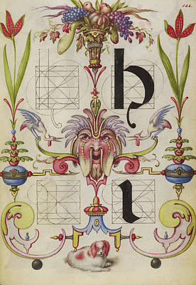1596 Painting - Guide For Constructing The Letters H And I Joris Hoefnagel by Litz Collection
