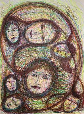Primitive Drawing - Guiding Connections by Tracy W Smith
