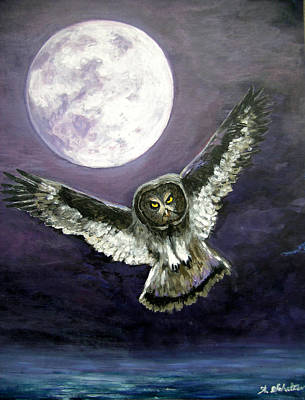 Birds In Flight At Night Painting - Great Grey Owl Of The Guiding Light by Amy Scholten