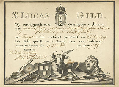 Glazier Painting - Guild Letter Of The Guild Of St. Luke In Amsterdam by Johannes De Broen