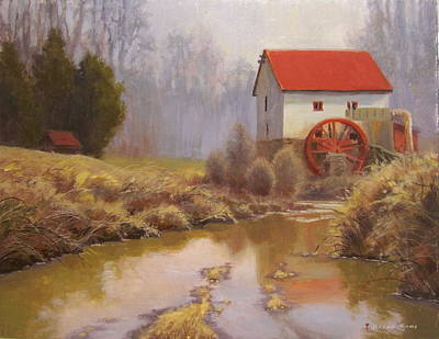 Grist Mill Painting - Guilford Mill En Plein Air by Jeremy Sams