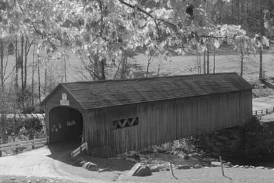 Photograph - Guilford Vermont Covered Bridge Black And White by John Burk