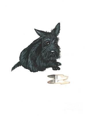 Scottish Terrier Watercolor Painting - Guilty by Margaryta Yermolayeva