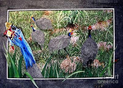 Guinea Fowl In Guinea Grass Art Print by Sylvie Heasman