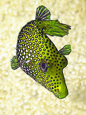 Digitally Manipulated Digital Art - Guinea Fowl Puffer Fish In Green by ABeautifulSky Photography
