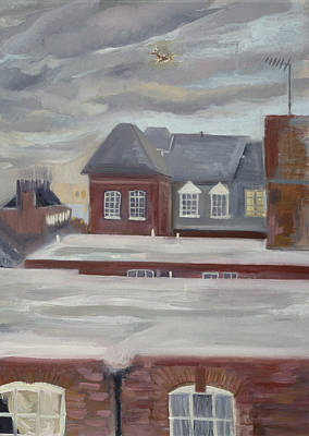 Rooftop Photograph - Guinness Trust Buildings, Fulham Palace Road Oil Pastel On Paper by Sophia Elliot