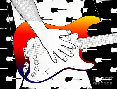 Stratocaster Drawing - Guitar 1 by Joseph J Stevens