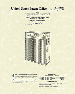 Drawing - Guitar Amplifier 1971 Patent Art by Prior Art Design