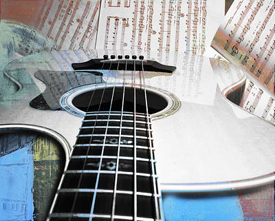 Digital Art - Guitar And Music by Susan Stone