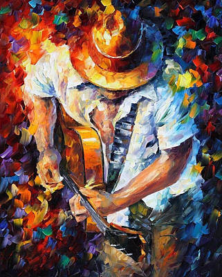 Guitar And Soul - Palette Knife Oil Painting On Canvas By Leonid Afremov Original