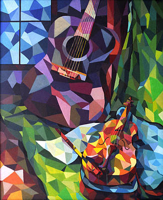 Painting - Guitar And Violin by Alfredo Gonzalez