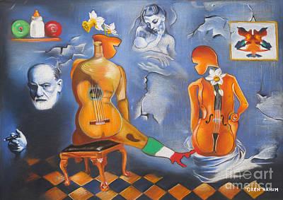 Sigmund Freud Painting - Guitar And Violin by Oren Nahum