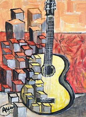 Guitar Art Print by Asuncion Purnell