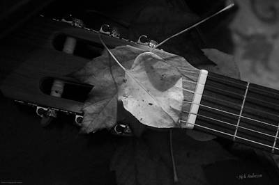 Photograph - Guitar Autumn 4 - Bw by Mick Anderson
