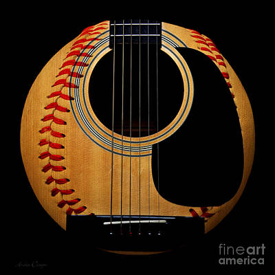 Mixed Media - Guitar Baseball Square by Andee Design