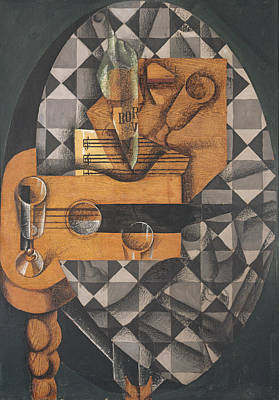 Checkered Tablecloth Photograph - Guitar, Bottle, And Glass, 1914 Pasted Papers, Gouache & Crayon On Canvas by Juan Gris