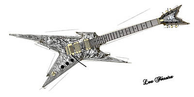 Digital Art - Guitar Bw by Louis Ferreira