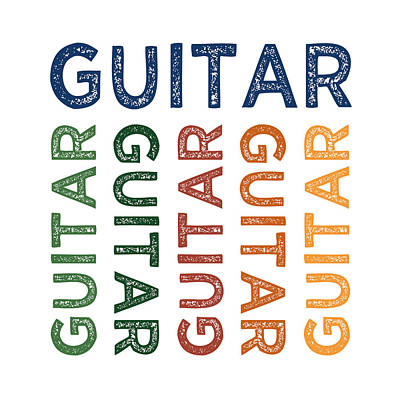 Guitar Cute Colorful Art Print by Flo Karp