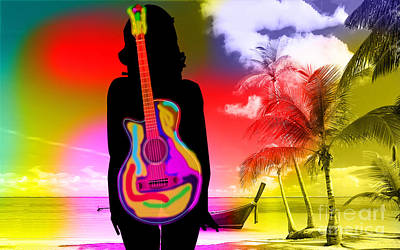 Blue Mixed Media - Guitar Girl At Beach by Marvin Blaine