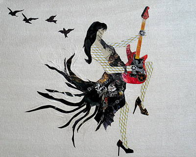 Steampunk Girl Girls With Guitars Collage Painting Original by Holly Anderson