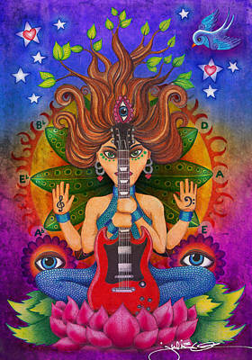 Hindu Goddess Drawing - Guitar Goddess by Julie Oakes