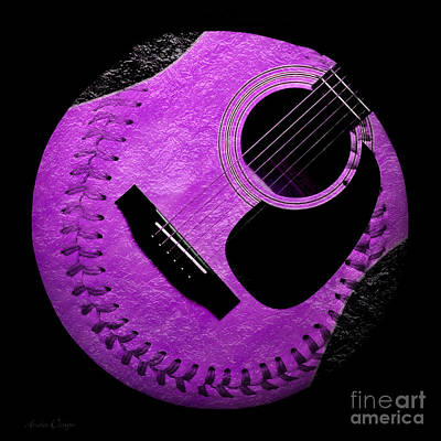 Guitar Grape Baseball Square Art Print