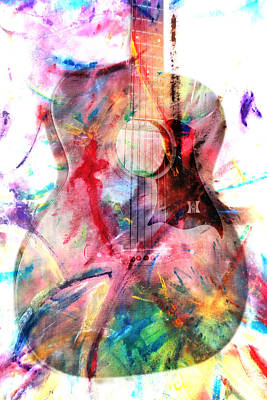 Photograph - Guitar Splash Of Color by Athena Mckinzie