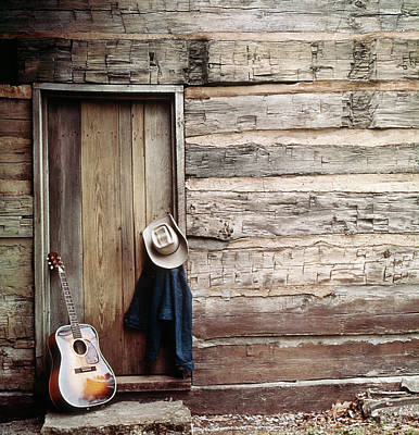 Log Cabin Art Photograph - Guitar Hat And Jacket By Weathered Barn by Vintage Images