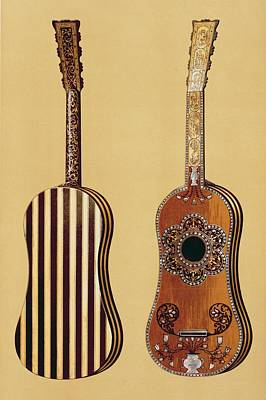 Pattern Drawing - Guitar Inlaid With Mother-of-pearl by Alfred James Hipkins