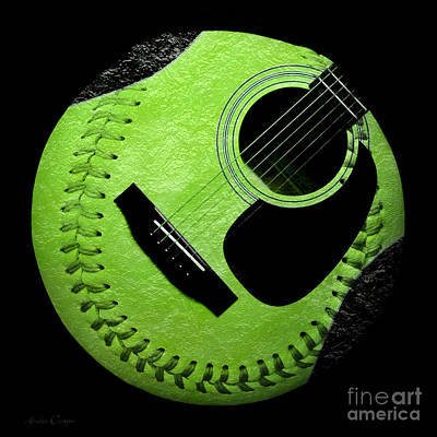 Digital Art - Guitar Keylime Baseball Square  by Andee Design