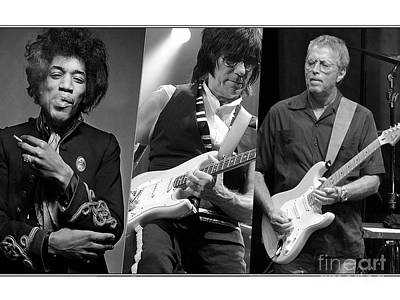 Eric Clapton Mixed Media - Guitar Legends Jimi Hendrix Jeff Beck And Eric Clapton by Marvin Blaine