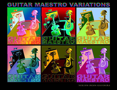 Verlyn Dean Gleisberg Mixed Media - Guitar Maestro Variations by Dean Gleisberg