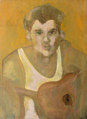 Top With Oil Painting - Guitar Man by Anita Dale Livaditis