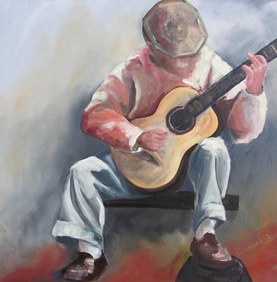 Susan Richardson Painting - Guitar Man by Susan Richardson