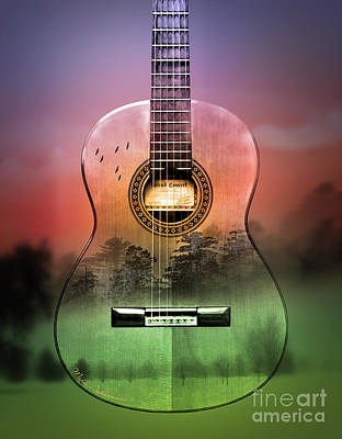 Signed Digital Art - Guitar Nature  by Mark Ashkenazi