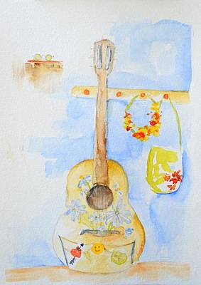 60s Drawing - Guitar Of A Flower Girl by Patricia Awapara