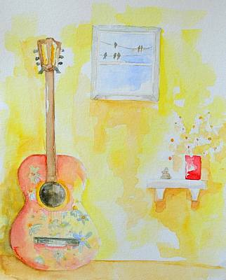 60s Drawing - Guitar Of A Flower Girl With A Touch Of Zen by Patricia Awapara