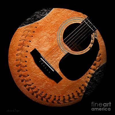 Guitar Orange Baseball Square Art Print